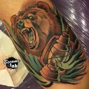 ลายสัก รอยสัก นิวสคูล หมี